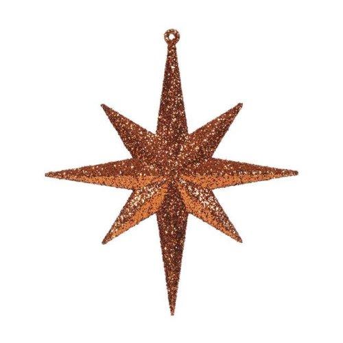 Vickerman M167218 Burnish Orange Glitter Bethlehem Star Ornament, 8 in.