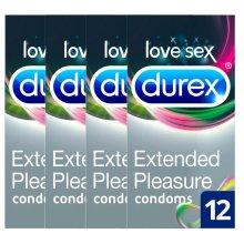 4 x Durex Extended Pleasure Latex Condoms Longer Lasting Lubricant Pack of 12