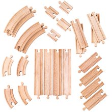 Bigjigs Toys Curves & Straights Expansion Pack | Wooden Train Tracks