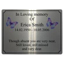 954 Custom Personalised Memorial Butterflies Metal Aluminium Plaque Funeral. In Loving Memory Sign