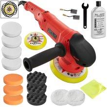 tectake Dual action polisher set 710W - polishing machine, car poloshing kit, buffing machine - 17 pc. set incl. polish