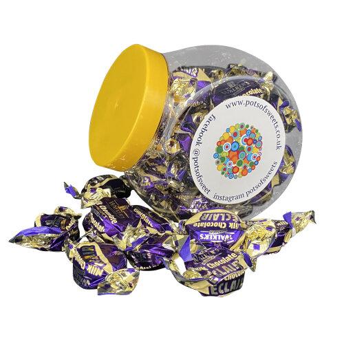 250g Cookie Jar of Walkers Individually Wrapped Walkers Milk Chocolate Eclairs