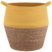 Eye-catching Tribal Nature Two-Tone Wicker Basket Can Be Folded To Reshape or Store - Ochre