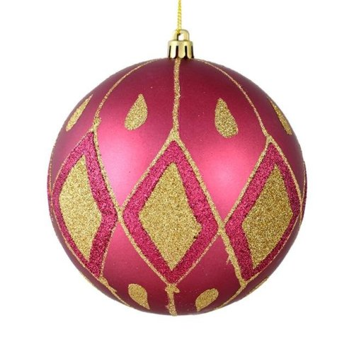Vickerman N188021D 4 in. Berry Red Matte Ball Ornament with Glitter Diamond Pattern, 4 per Pack - Pack of 12