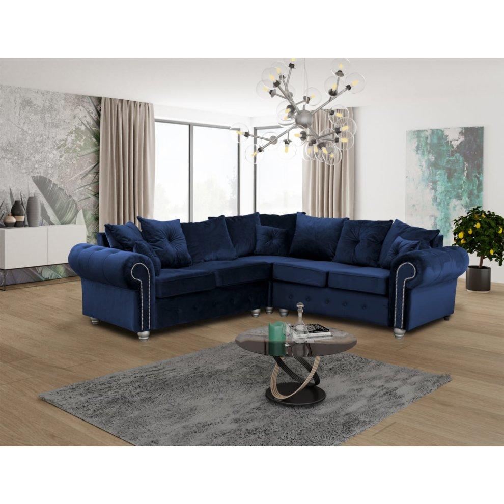 Blue Corner Sofa Ashwin Living Room Corner Sofa On Onbuy