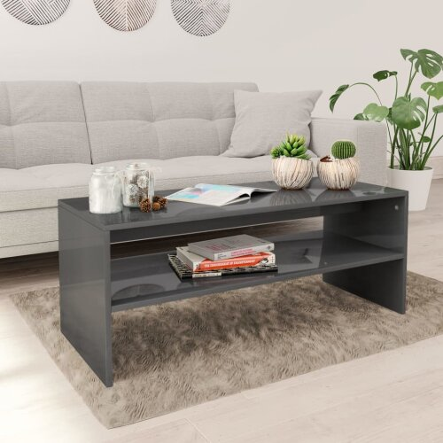 vidaXL Coffee Table with a Shelf High Gloss Grey Chipboard Side Table Bedroom