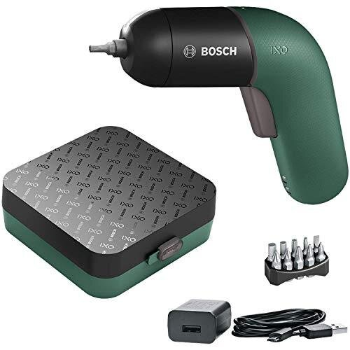 Bosch Electric Screwdriver IXO (6th Generation, green, rechargeable with micro USB-cable, variable speed control, in storage case)