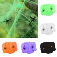 Stretchable Fake Spider Web Cotton Cobweb Trick Halloween Party Home Decor