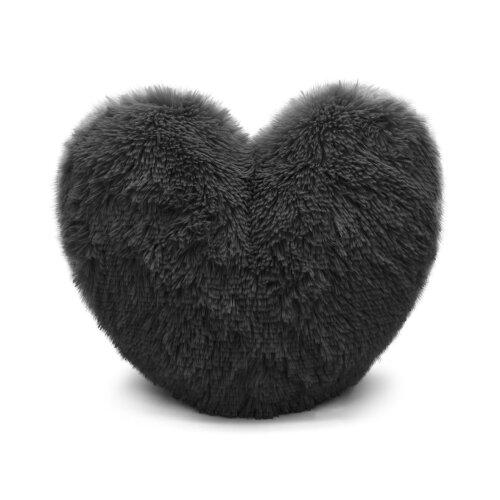 Teddy Heart Fleece Shape Fluffy Filled Cushion