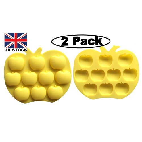 (2 Pack) New Apple Fruit Design Silicone Chocolate Baking Wax 20 Mould Yellow