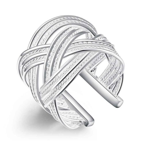 Silver Plated Lattice Ring Size P 1/2 (UK) Adjustable Woven Patterned Thumb Opened Wrap