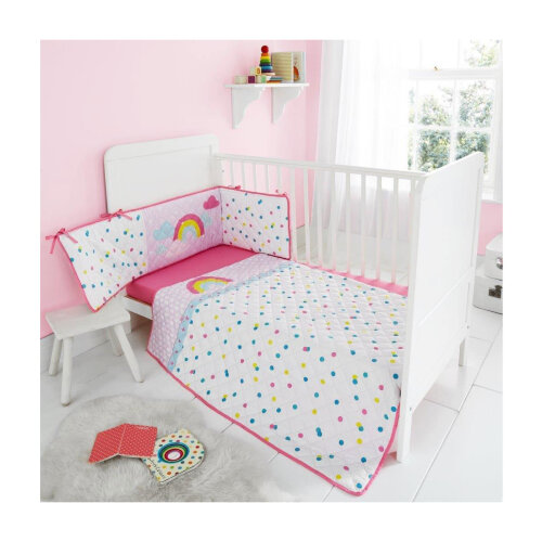 (Rainbow) Kids Cot Bed Bumper Set Soft Cosy Coverlet Premium Quilted Jersey Fitted Sheet