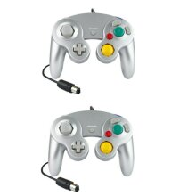 2X Silver Nintendo Gamecube Controller Fits Official GC & Wii Console