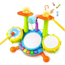 deAO Beginners Musical Table Top Drum Kit Play Set with Drum Sticks, Microphone, Light Features, Interactive Music and Sounds for Babies Kids