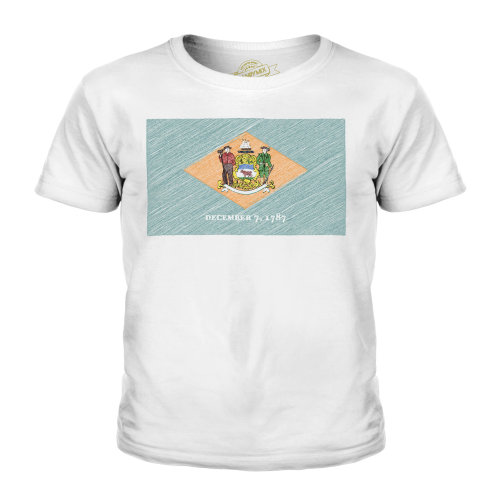 Candymix - Delaware State Scribble Flag - Unisex Kid's T-Shirt