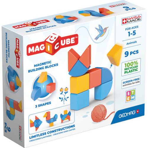 Geomag Magicube Shapes 100% Recycled Plastics Animals 9 Pieces