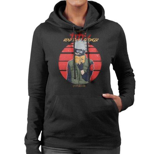 (Medium, Black) Read To Be Stronger Kakashi Hatake Naruto Women's Hooded Sweatshirt