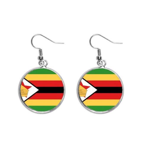 Zimbabwe National Flag Africa Country Ear Dangle Silver Drop Earring Jewelry Woman