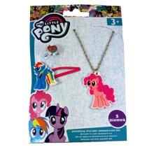 My Little Pony Rainbow Dash & Pinkie Pie Necklace Ring & Hair Clip Set