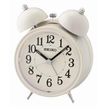 Seiko QHK035C Bell Alarm Clock with Light and Snooze - Cream
