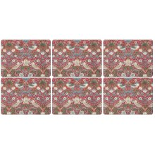 Pimpernel Strawberry Thief Red Placemats, Wood, Multi-Colour, Small, Set of 6