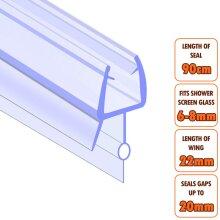 ECOSPA Bath Shower Screen Door Seal Strip 6-8mm Glass Gaps up to 21mm