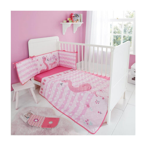 (Flona Flamingo) Kids Cot Bed Bumper Set Soft Cosy Coverlet Premium Quilted Jersey Fitted Sheet