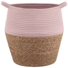 Eye-catching Cotton-upper Tribal Nature Two-Tone Wicker Basket Can Be Folded To Reshape or Store.- Blush