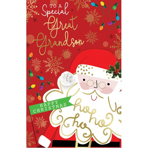 To A Special Great Grandson Cute Santa & Lights Design Christmas Card Lovely Verse
