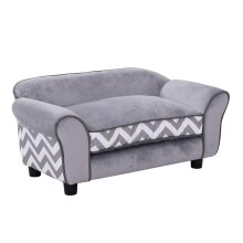 PawHut Pet Sofa Lounger|Soft Dog & Cat Couch Bed with cosy cushions, Grey