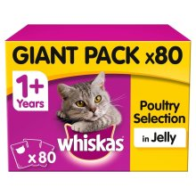 Whiskas 1+ Poultry Selection In Jelly Cat Pouches Giant Pack - 80 x 100g Pouches