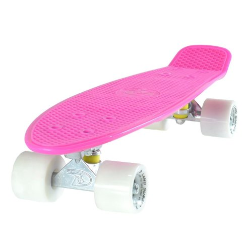 Land Surfer Cruiser Skateboard 22 Inches - Pink & White