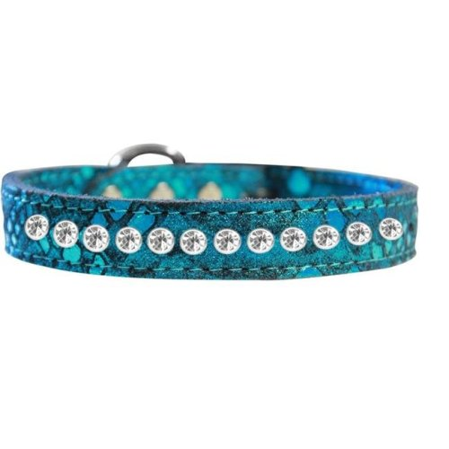 Mirage Pet 83-88 BL10 One Row Clear Jeweled Dragon Skin Genuine Leather Dog Collar, Blue - Size 10