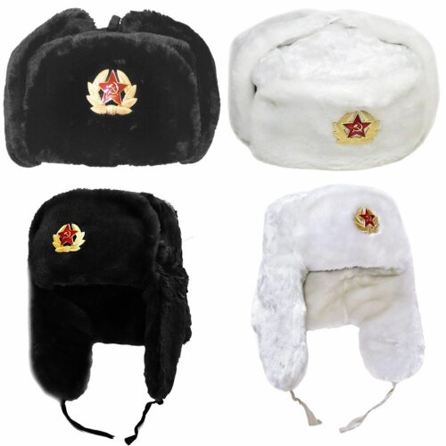 Cossack Russian Fake Fur Trapper Soviet Badge Hat