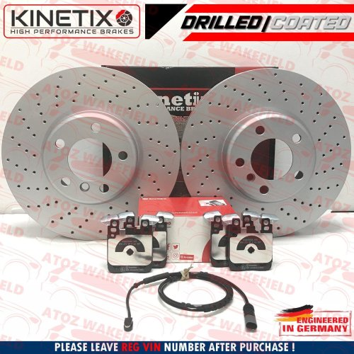 FOR BMW M235i M SPORT REAR DRILLED BRAKE DISCS BREMBO PADS SENSOR 345mm