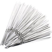 15pcs Stainless Steel BBQ Meat Sticks Long chef grill  Food Holders Skewers Needle Prongs for Barbecue Party Skewers Shipping