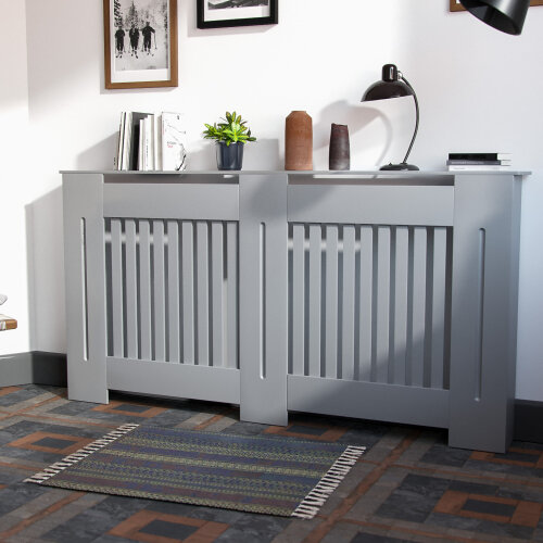 1520mm Large MDF Wood Radiator Cover Grill Cabinet Matte Light Grey