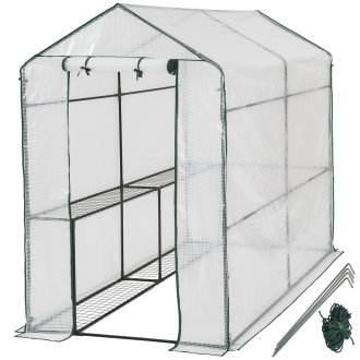 Greenhouse with tarpaulin - white