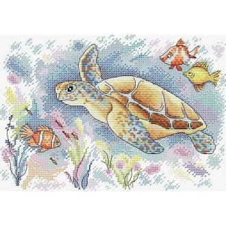 MP Studia Counted Cross Stitch Kit -  Ocean Colours - Sea Turtle & Fish Underwater Scene