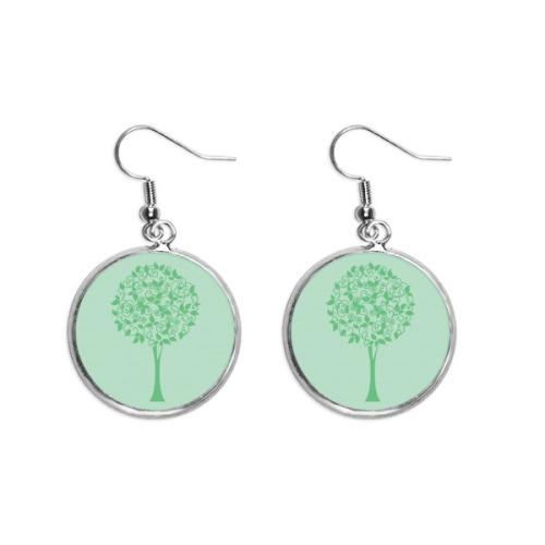 Green Round Tree Leaves Flower Ear Dangle Silver Drop Earring Jewelry Woman