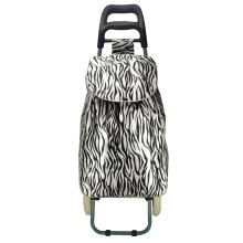 ST001-2L - BLACK&BEIGE - Trolley Bag With Zebra Pattern Printed