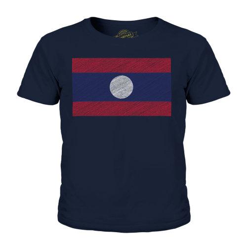 (Dark Navy, 3-4 Years) Candymix - Laos Scribble Flag - Unisex Kid's T-Shirt