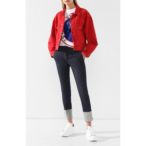 (M) Polo Ralph Lauren Women's Red Trucker Denim Jacket