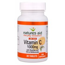 Natures Aid Vitamin C 1000mg Low Acid (with Rosehips & Citrus Bioflavonoids) , 30 Tablets. Suitable for Vegans.