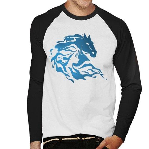 (Medium, White/Black) Disney Frozen II Nokk Elsa Silhouette Men's Baseball Long Sleeved T-Shirt