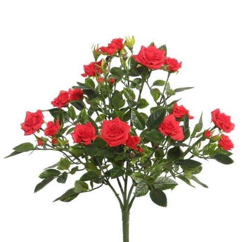 Vickerman FL171101 Red Mini Diamond Rosa X5 Floral Bush - 15 in.