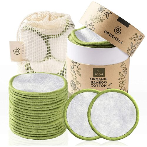 20 Pack Reusable Makeup Remover Pads 100% Organic Bamboo Cotton Rounds For All Skin Types With Laundry Bag & Storage Box