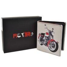 Mens Tri-Fold Leather Wallet by Retro Harley Davidson in Gift Box Golunski
