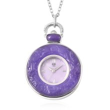 """Purple Jade Watch with Chain Size 32"""" in 925 Sterling Silver and Stainless Steel 72.00 Ct, Silver wt. 21.00 Gms"""