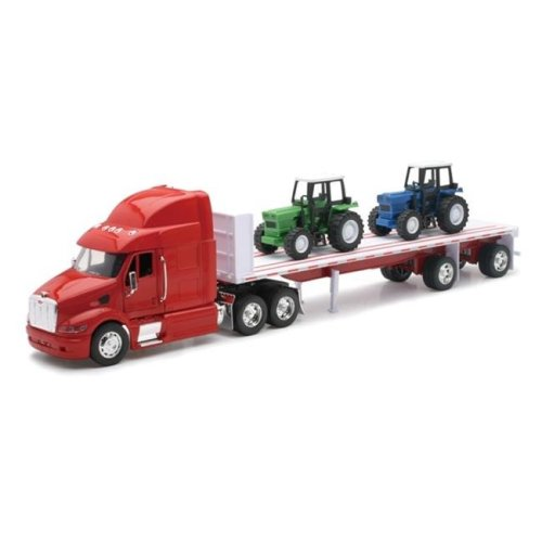 New Ray 10283A Peterbilt 387 Flatbed with Farm Tractor Long Hauler Toy Truck, Pack of 6